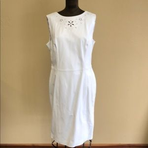 Escada white leather eyelet dress